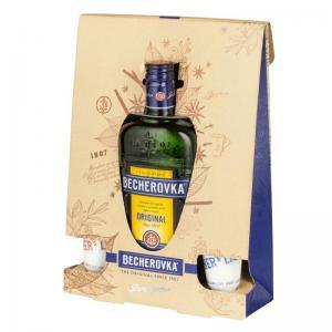 Becherovka Original Bylinný likér 0,5l + panáky