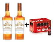 PÁRTY SET 2x Glen Silvers Blended 1l 40% + 24x Coca Cola 0,33l